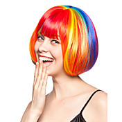Capless Bob Style High Quality Synthetic Straight Rainbow Wigshairstyle
