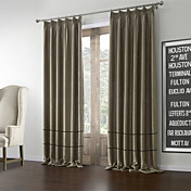 (Two Panels) Modern Polyester Cotton Blend Blackout Curtains
