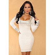 White Pleated Studded Long Sleeves Dress(Hip:90-104cm  Length:105cm)