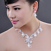 Alloy with Elegant Crystal Jewelry Sets including Earrings,Necklace