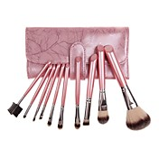 10PCS Pink Handle Cosmetic Brush Set With Free Pink Leather Pouch