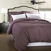 3-Piece Modern Stylish 100% Linen Purple Garment Wash Duvet Cover Set