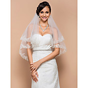One-tier Elbow Veil With Lace Applique Edge