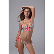 Leopard Bow Halter Bikini with Pink Ties
