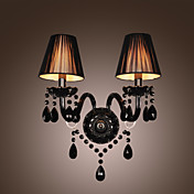 Black Crystal Wall Light with 2 Lights in Fabric Shade