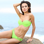 Women's Bandeau Pleated Lovely Green Swimwear