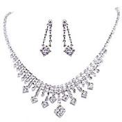 Cute Rhinestone Silver Plating Alloy Wedding Jewelry Set Including Earrings,Necklace