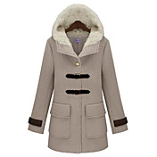 Women's Tweed Hooded Coat with Pocket and Buckle Detail