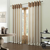 (One Pair) Beige Dotted Line Lined Blackout Curtain