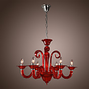 Modern Acrylic Chandeliers with 6 Lights Candle Featured Red