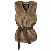 Collarless Faux Fur Casual/Party Vest