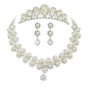 Sweet Silver Pearl Metal Tiara Earrings Necklace Wedding Set