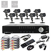 8CH D1 Real Time H.264 600TVL High Definition CCTV DVR Kit (8 Waterproof Day Night CMOS Cameras)