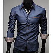 Men'S Leather Pocket Slim Denim Shirt