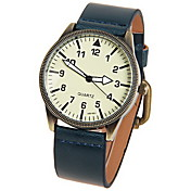Women's Faux Leather Quartz Movement Glass Round Watch(More Colors)