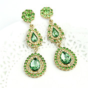 Gold Plated Alloy Green Zircon Waterdrop Pattern Earrings