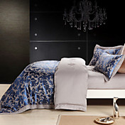4-Piece Blue Jacquard Duvet Cover Set