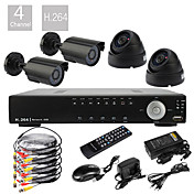 4CH D1 Real Time H.264 High Definition CCTV DVR Kit (4 600TVL Waterproof Day Night CMOS Cameras)