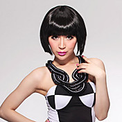 Capless Short Bob High Quality Synthetic Pure Black Straight Hair Wig