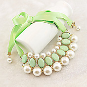 Women's Fresh Lovely Pearl With Ribbon Short Necklace