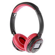 MP3 FM On-Ear Bluetooth Headphone with Mic, TF Card Slot, LCD Screen (Red,Black)