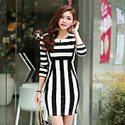 Women's Black-White Stripes Crop Sleeve Midi Dresses