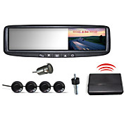 Car Rearview Mirror with 4.3 Inch LCD Screen and 4 Wireless Parking Sensors (Buzzer Alarm)