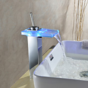 Sprinkle® by Lightinthebox - Color Changing LED Waterfall Bathroom Sink Faucet (Chrome Finish)