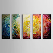 Hand Painted Oil Painting Abstract With Stretched Frame Set of 5 1308-AB0573