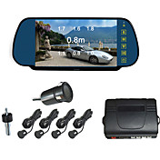 Car Rearview Mirror with 7 Inch LCD Screen Camera Parking 4 Radar Parking Sensors (Buzzer Alarm)