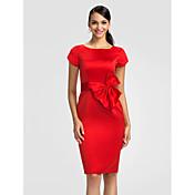 Sheath/Column Jewel Knee-length Satin Bridesmaid Dress