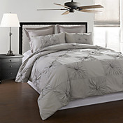 3-Piece 100% Cotton Marlon Grey Hand Pleated Duvet Cover Set