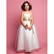 A-line Princess Spaghetti Straps Organza Satin Flower girl Dress