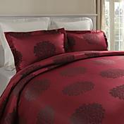 3-Piece Modern Red Jacquard Floral Duvet Cover Set