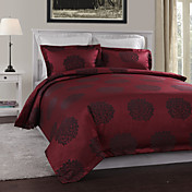 3-Piece Modern Red Jacquard Floral Duvet Cover Set