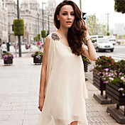 Women's Fanshion Shoulder Pad Chiffon Mini Dress