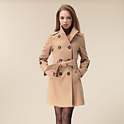 LEECOO Women's Elegant Stand Collar Double-Breasted Tweed Coat