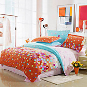 4-Piece 100% Cotton Modern Style Orange Floral Print Duvet Cover Set