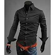 Pure Color High Collar Shirt