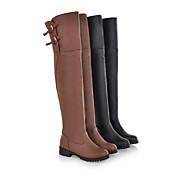 Tasteful Leatherette Flat Heel Over Knee High Boots Casual Shoes(More Colors)