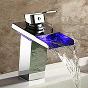 Single Handle Waterfall Bathroom Sink Faucet with LED Light