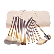 12PCS Coffee Handle Cosmetic Brush Set With Off-white Leather Pouch