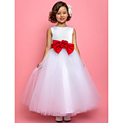 Princess Jewel Ankle-length Tulle Satin Flower Girl Dress