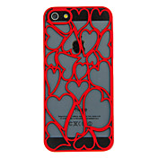 Claret Heart-shaped Hollow Carved Hard Case For iPhone 5
