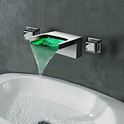 Contemporary Waterfall Wall Mount 3 Colors LED Bathroom Sink Faucet