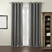 (One Panel) Grey Solid Modern Blackout Curtain