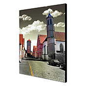Stretched Canvas Art Landscape Quiet Street