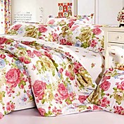 4-Piece 100% Cotton Modern Style Multicolor Floral Print Duvet Cover Set