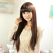 Capless Long Straight High Quality Synthetic Brown Wig