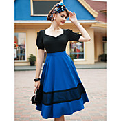 TS VINTAGE Deep V Neck Swing Dress